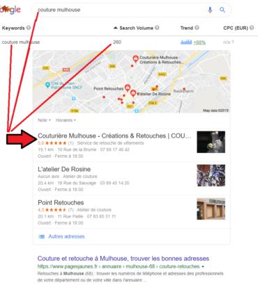 Référencement local Coutur' Addict Mulhouse